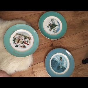 3 Avon Christmas plates vintage collection